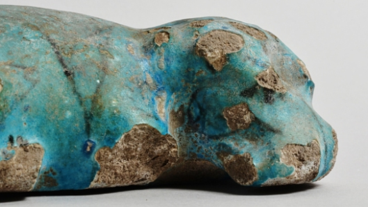 Faience hippopotamus found in tomb 477 at Matmar. (EA 63713)